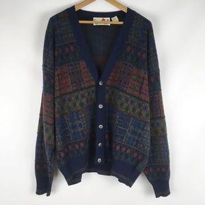 Vintage | ugly grandpa cardigan sweater blue 0676